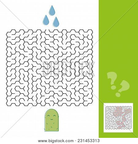 Cactus And Water Maze Game For Younger Kids With A Solution - Vector Illustration - Line Style