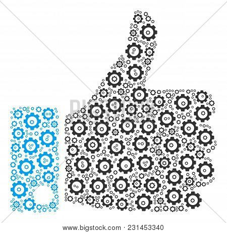 Thumb Up Collage Of Cog Wheels. Vector Cog Wheel Elements Are Composed Into Thumb Up Shape.