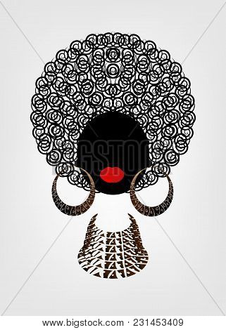 Portrait African Women , Dark Skin Female Face With Hair Afro And Ethnic Traditional Earrings And Ne