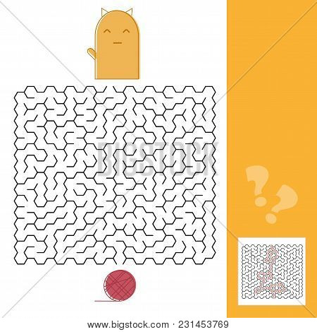 Kitten And Wool Ball Maze Game For Kids With Solution Vector Illustration