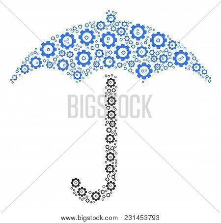 Umbrella Composition Of Gear Components. Vector Mechanical Wheel Parts Are United Into Umbrella Mosa
