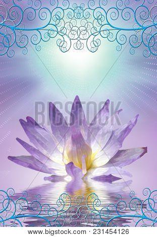 Lotus with decorative edging. 3D rendering