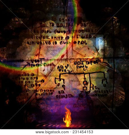 Surreal composition. Burning water. Winged angel. Ancient script on the background. 3D rendering