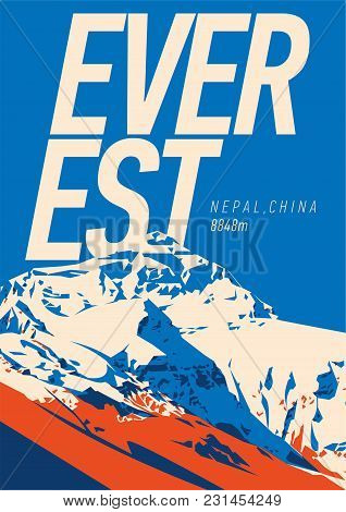Everest In Himalayas, Nepal, China Outdoor Adventure Poster. Chomolungma Higest Mountain On Earth. C