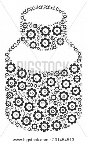 Vial Composition Of Gearwheels. Vector Gear Wheel Parts Are Composed Into Vial Pattern.