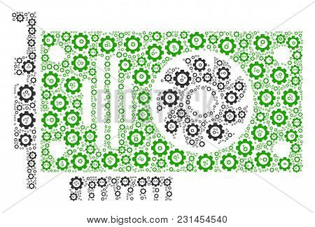 Video Gpu Card Composition Of Cogs. Vector Cog Wheel Objects Are Organized Into Video Gpu Card Figur