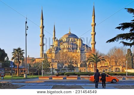 Istanbul, Turkey - March 24, 2012: Sultanahmet Mosque In Morning Light.