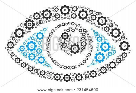 Vision Collage Of Gear Wheels. Vector Cog Wheel Objects Are Organized Into Vision Mosaic.