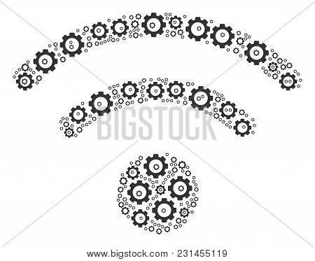 Wi-fi Mosaic Of Gear Components. Vector Gear Wheel Parts Are Composed Into Wi-fi Pattern.