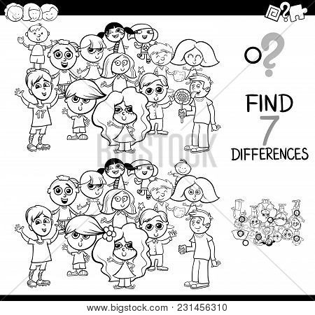 Differences Game With Children Coloring Book