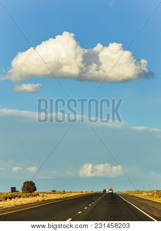 Road Trip Highway Landscape With Cloud On Top