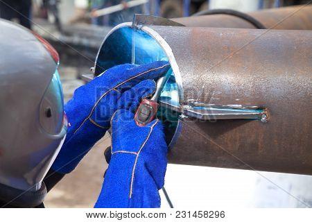 Welding Work, Welder Welding Metal Material In Heavy Industry Manufacturing, Video Clip