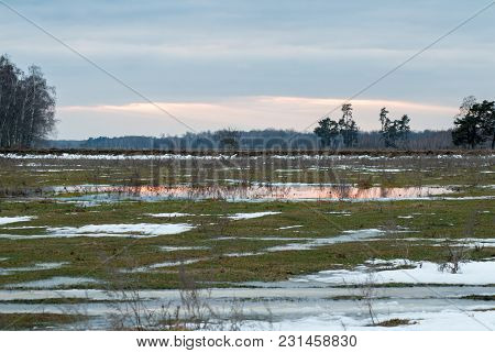 Early Spring Landscape In The Field Near The Forest, Depressive Weather, Snow Melts, Reflected In A