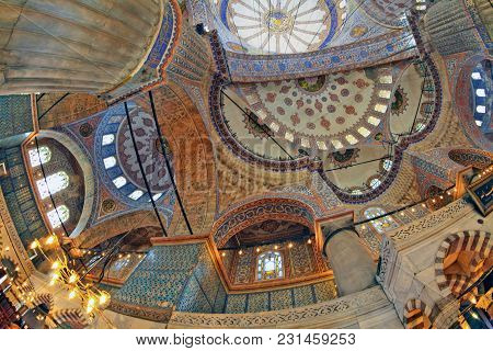 Istanbul, Turkey - March 24, 2012: Ceiling Of The Sultanahmet Mosque.