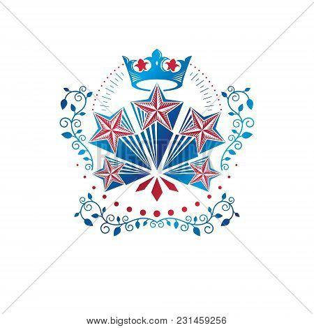 Military Star Emblem Created With Royal Crown And Floral Ornament. Heraldic Vector Design Element, 5