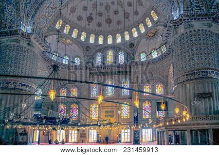 Istanbul, Turkey - March 24, 2012: Interior Of The Blue Mosque.