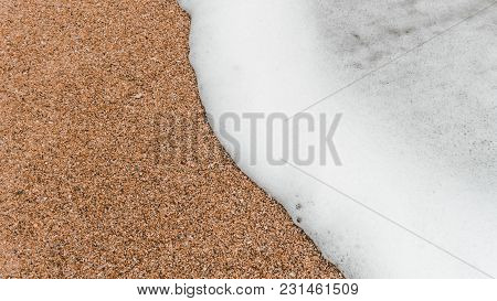 Soft Wave Of The Tropical Sea On The Sandy Beach. Natural Summer Background With Copy Space.vacation
