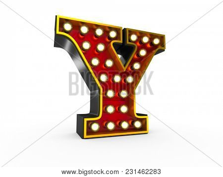 High quality 3D illustration of the letter Y in Broadway style with light bulbs illuminating it over white background