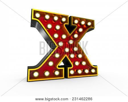 High quality 3D illustration of the letter X in Broadway style with light bulbs illuminating it over white background