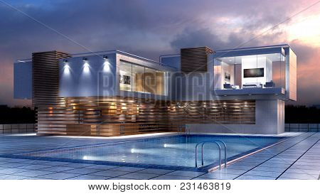 3D Illustration Of A Modern Luxury House With A Pool