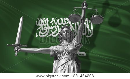 Cover About Law. Statue Of God Of Justice Themis With Flag Of Saudi Arabia Background. Original Stat