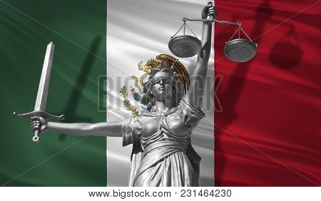 Cover About Law. Statue Of God Of Justice Themis With Flag Of Mexico Background. Original Statue Of
