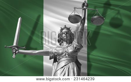 Cover About Law. Statue Of God Of Justice Themis With Flag Of Nigeria Background. Original Statue Of