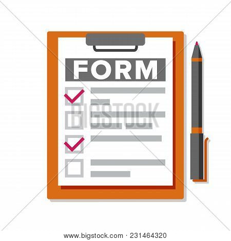 Claim Form Vector. Medical, Office Paperwork. Clipboard. Checklist, Complete Tasks. Pen To-do List F
