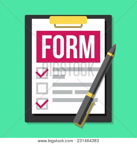 Claim Form Vector. Business Document. Accident, Survey, Exam, Insurance Concept. Pen Top View Flat C