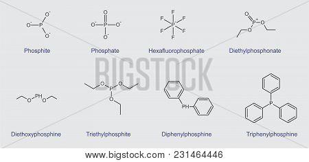 Illustration Of A Set Of Structural Formulas Of Phosphorus Compounds