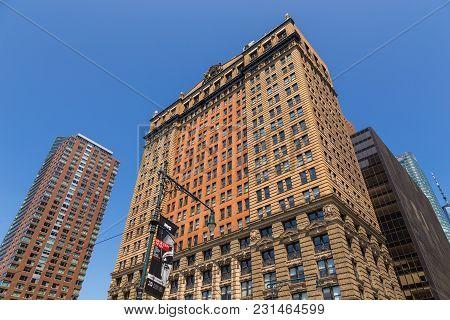 Panoramic View On Skyscraper Lower Manhattan Skyline In New York City.