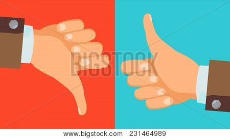 Dislike And Like Icon Vector. Thumbs Up, Thumbs Down Business Hands. Social Media Network Web Symbol