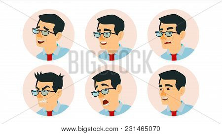 Asian Character Business People Avatar Vector. Asiatic Man Face, Emotions Set. Creative Avatar Place