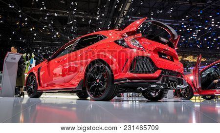 Geneva, Switzerland - March 7, 2018: Honda Civic Type-r Sportive Hatchback Car Presented At The 88th