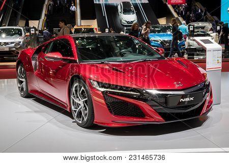 Geneva, Switzerland - March 7, 2018: Honda Nsx Hybrid Sports Car Presented At The 88th Geneva Intern