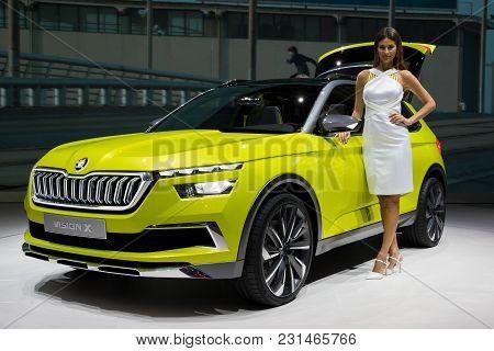 Geneva, Switzerland - March 7, 2018: Skoda Vision X Concept Hybrid Compact Urban Crossover  Car Pres