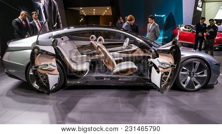 Geneva, Switzerland - March 7, 2018: Interior View Of The Hyundai Le Fil Rouge Concept Car Presented