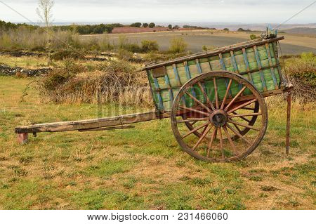 Picturesque Cart Of Oxen Lost From Manolo In Becerril. Landscapes Transportation Travel October 21,