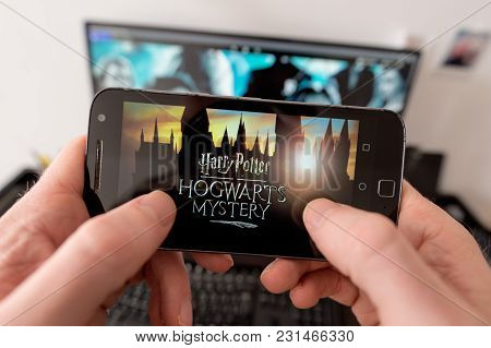 Montreal, Canada - 16 March 2018: Harry Potter Fan looking at screen shots of upcoming video game