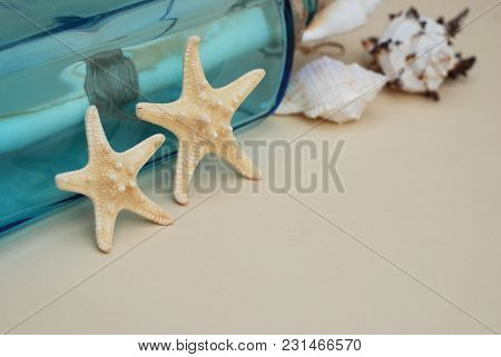 Nautical Theme Backdrop, Decorative Starfish On Neutral Ivory Background. Place For Text.
