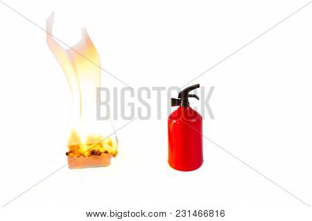 A Lit Box Of Matches And A Fire Extinguisher Isolated On White Background. Danger, Fire, Fire, Safet