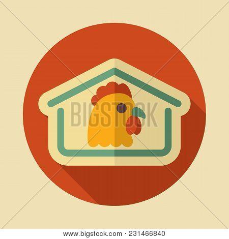 Chicken House Icon. Farm Animal Sign. Graph Symbol For Your Web Site Design, Logo, App, Ui. Vector I