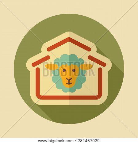 Sheep House Icon. Farm Animal Sign. Graph Symbol For Your Web Site Design, Logo, App, Ui. Vector Ill