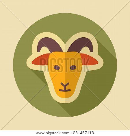 Goat Icon. Animal Head. Farm Sign. Graph Symbol For Your Web Site Design, Logo, App, Ui. Vector Illu