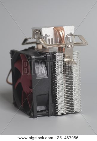 Computer Fan Processor Cooler On A Gray  Background