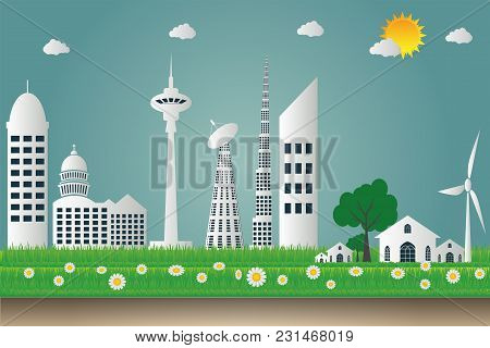 Buildings Cityscape Ecology,wind Turbines With Trees And Sun Clean Energy Eco-friendly Concept Ideas