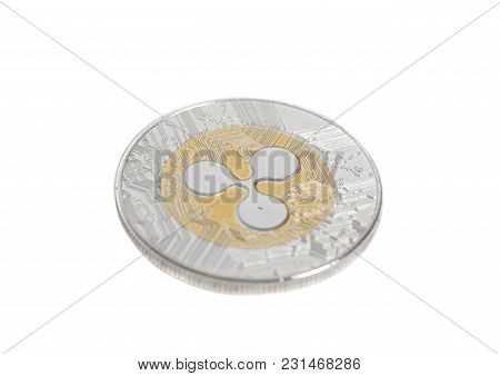 Golden Ripple Coin Isolated On White Background