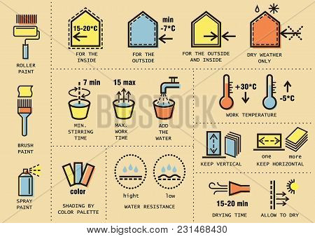 Vector Set Of Icons For Packing Finishing Materials In Construction. Instruction For Storage, Rules