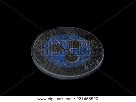 Ripple Coin Crypto Currency On A Black Background .