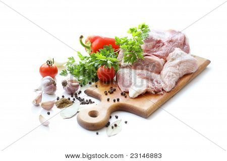 raw meat and spices